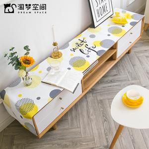 北欧棉麻布艺茶几电视柜桌布防水防尘鞋柜盖布家用长方形台布桌旗