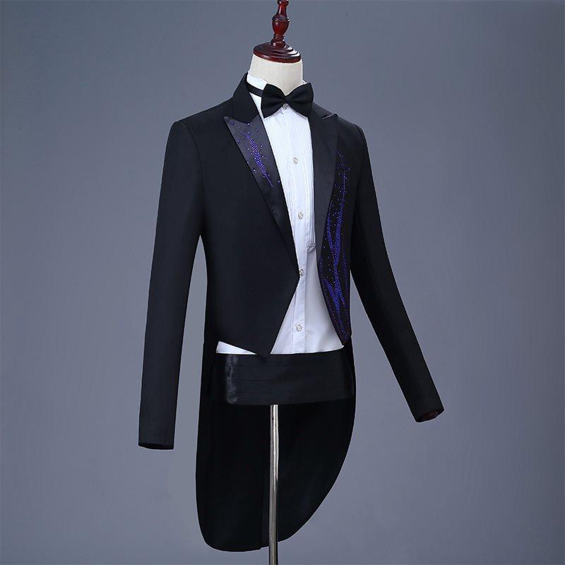 Top grade tuxedo mens white youth slim dress suit piano singer suit performance suit magic new