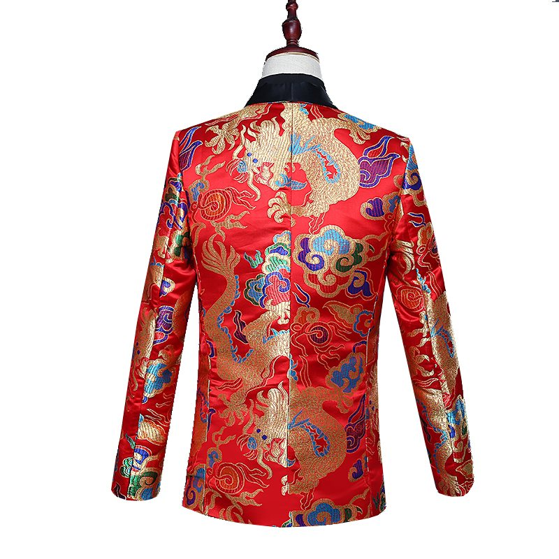 High grade Chinese dress green fruit collar suit top Chinese style suit bridegroom wedding dress colorful dragon happy Tang Xin