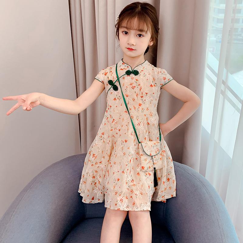 女童裙子2021夏装薄款韩版儿童洋气汉服新款时尚小女孩碎花连衣裙