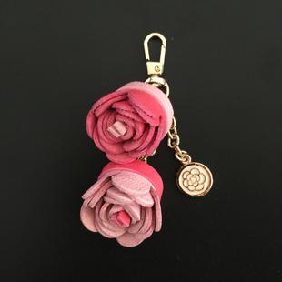 热销DIY定制 手工羊皮包包挂饰 真皮花朵创意钥匙扣挂件 配饰礼品