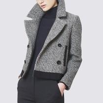 2019秋冬季新款女装欧美大码西装领羊毛呢短外套拼接上衣百搭