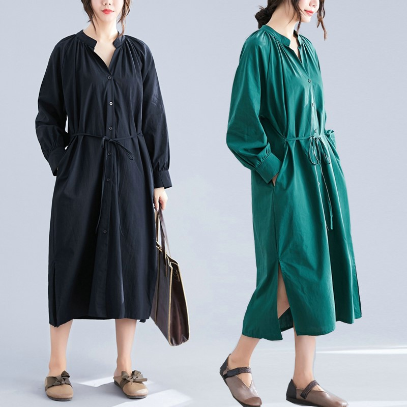 Large womens spring cover belly V-neck dress with waistband showing thin and lazy, fat mm lace up long sleeve shirt skirt