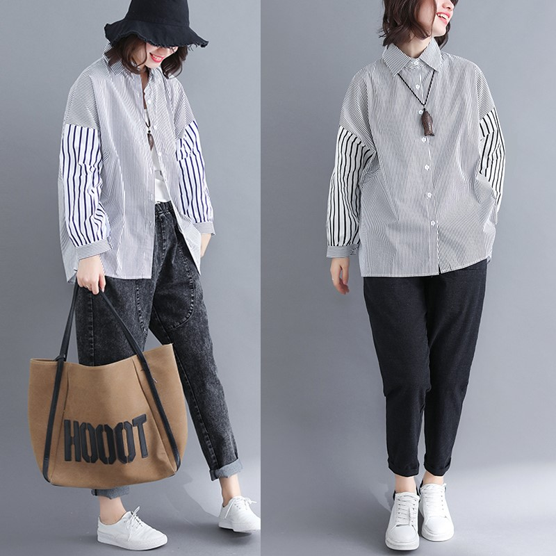 2020 new Korean color matching vertical stripe long sleeve shirt womens loose large student shirt polo collar top spring