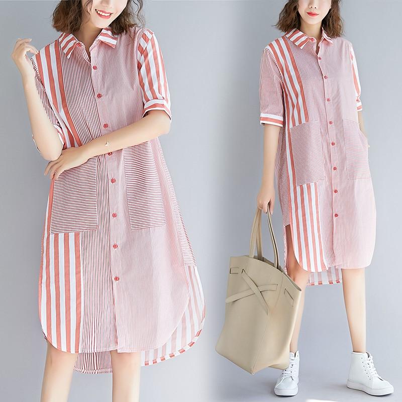 2020春夏新款大码女装文艺竖条纹拼接衬衫裙宽松显瘦中长款连衣裙