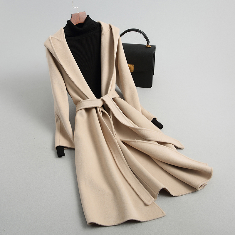 Ancient double-sided cashmere coat womens middle and long section 2018 new hooded leisure double-sided tweed zero double-sided wool coat women