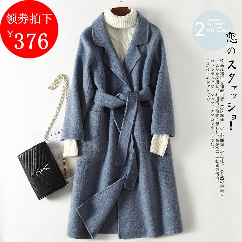 Guyin anti season double face denim wool coat womens long double face cloth double face cashmere zero cashmere coat in autumn 2019