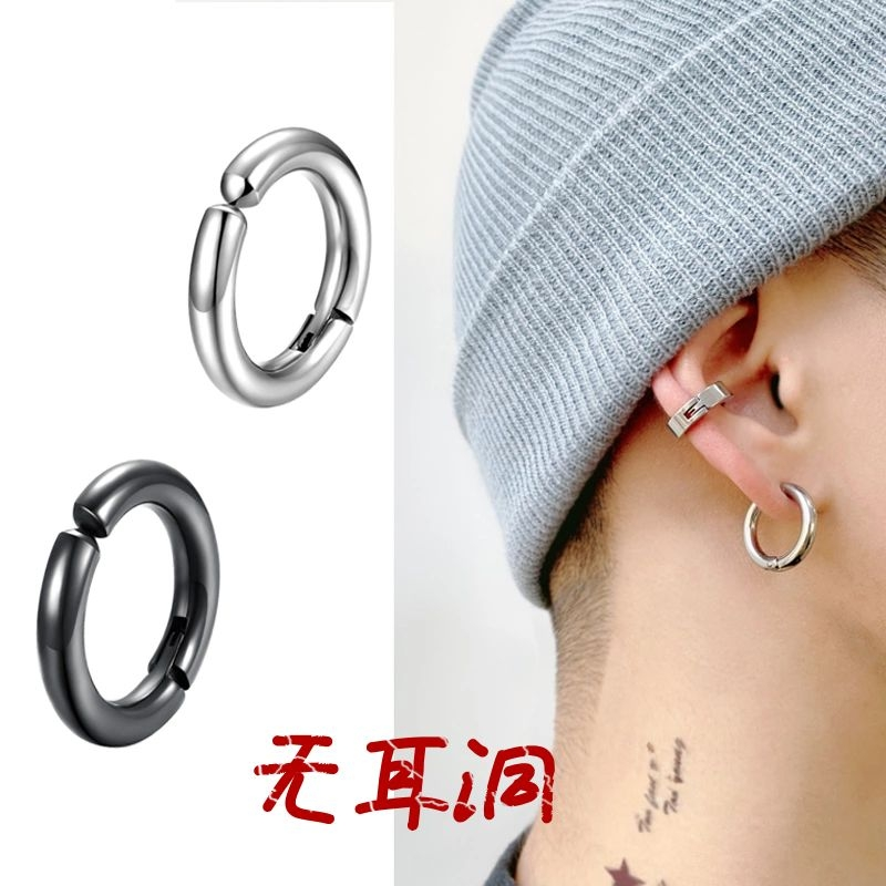 Earless ear clip men's single personality Earbone clip Korean cold wind fake Earrings hip hop Earrings 2020 new trend
