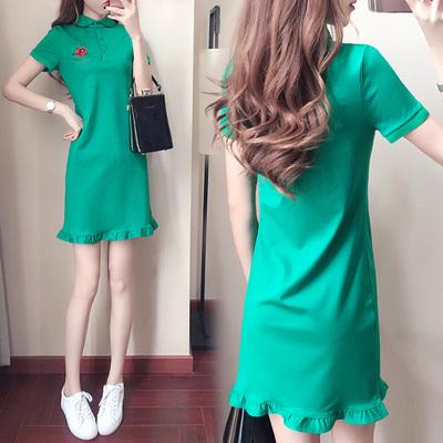 中长款裙子女装夏季2020新款时尚韩版显瘦气质polo领荷叶边连衣裙