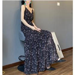 分层拼接印花连衣裙 高腰线雪纺遮腿长裙 超长款及踝小碎花吊带裙