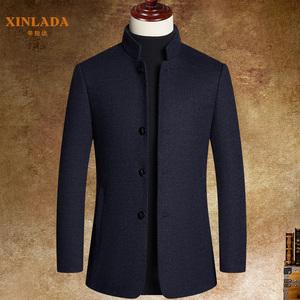立领外套男羊毛呢短款商务休闲男装冬季羊绒呢子大衣男士外套中年