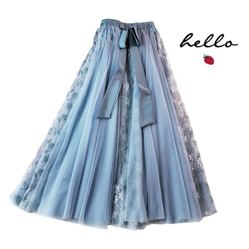 星空蓝重工纱裙女半身夏天显瘦长裙子半身裙女夏遮胯裙子粉色洋气