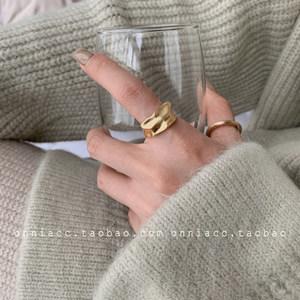 韩国东大门设计师金属圆环随型宽边圆圈戒指女食指复古个性小众潮