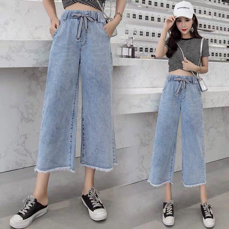 松紧腰阔腿牛仔裤女2019春季新款系带高腰宽松显瘦毛边直筒九分裤