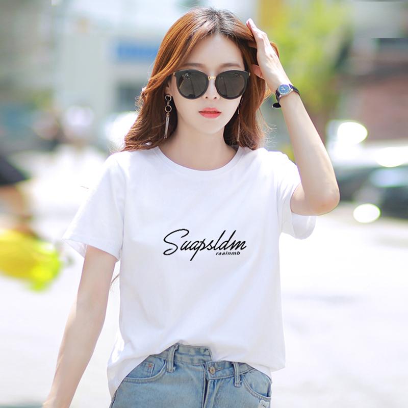 白色短袖t恤女装2021年春季新款...