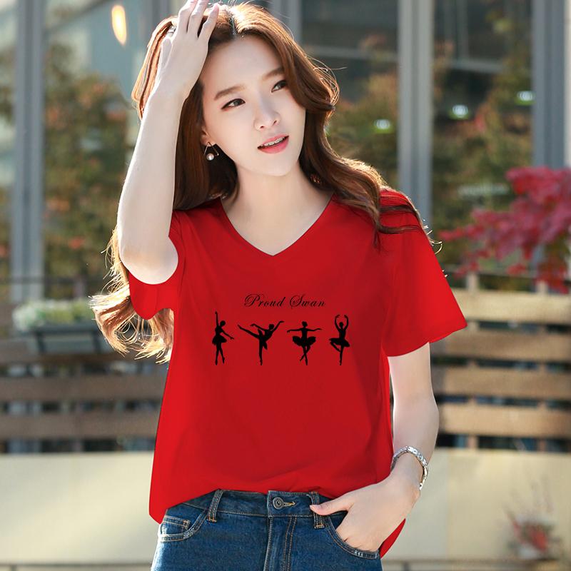 12月02日最新优惠红色短袖2019新款t恤女宽松V领上衣韩版半袖鸡心领棉印花体恤大码