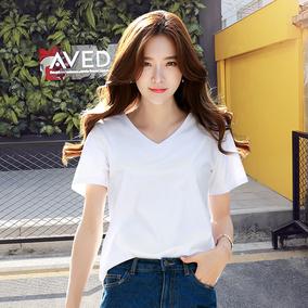 纯白色t恤女短袖v领宽松潮打底衫
