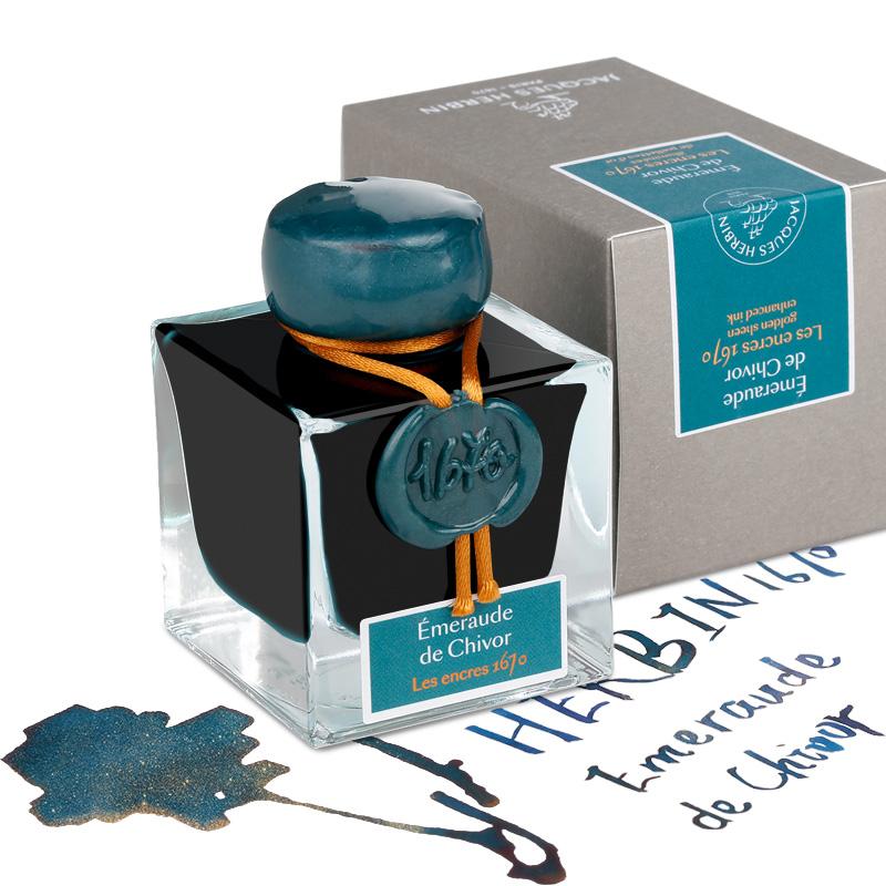 现货 法国J.herbin简赫本1670祖母绿纪念款金粉彩墨 1798限量款银粉墨水手工玻璃瓶jherbin彩色墨水蘸水笔用
