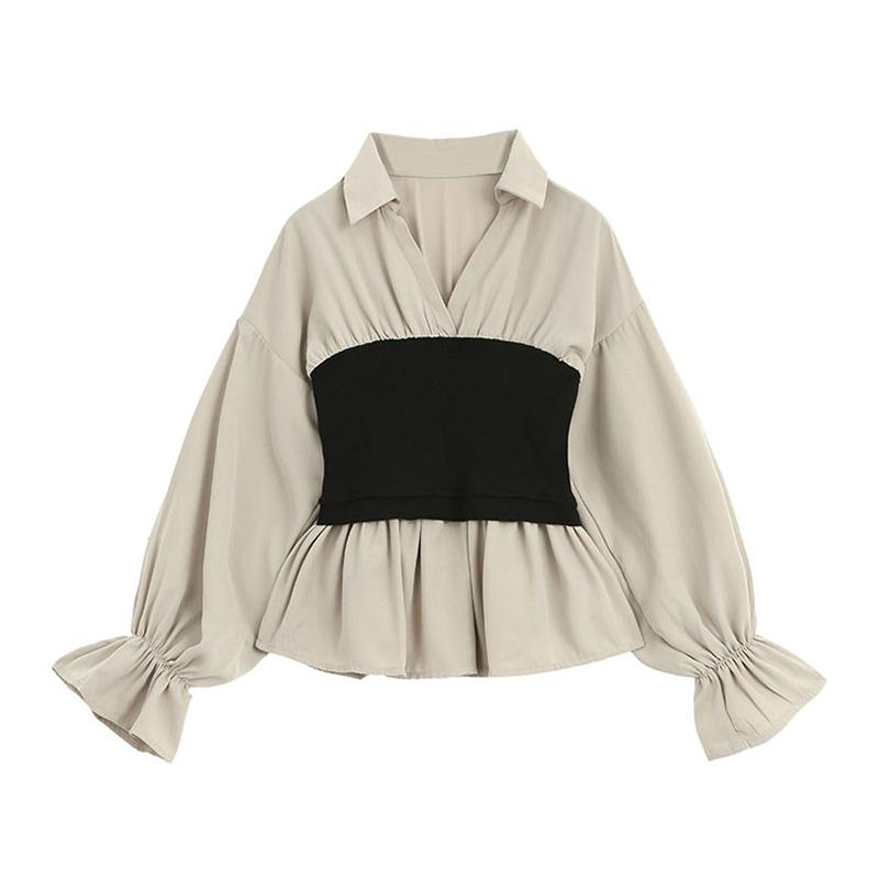 Designer Plus 娃娃衫上衣女2019秋新款收腰韩版腰封v领长袖衬衫