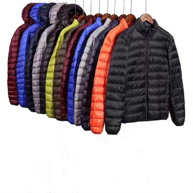 New wind proof down cotton jacket short mens casual coat autumn and winter slim fit ultra thin Hooded Winter Sports