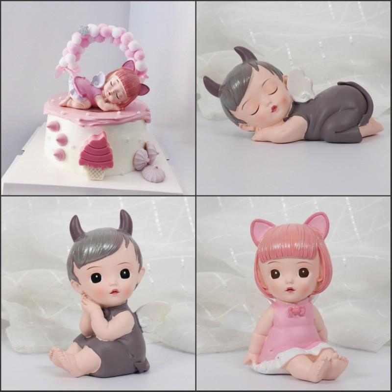 Fantasy Elsa and Keller angel cake decoration decoration sleeping baby baking dressing Devil Angel Doll