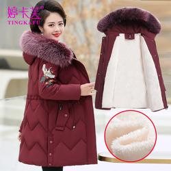 中老年棉服中长款加绒外套妈妈棉袄2020新款中年女秋冬装棉衣加厚