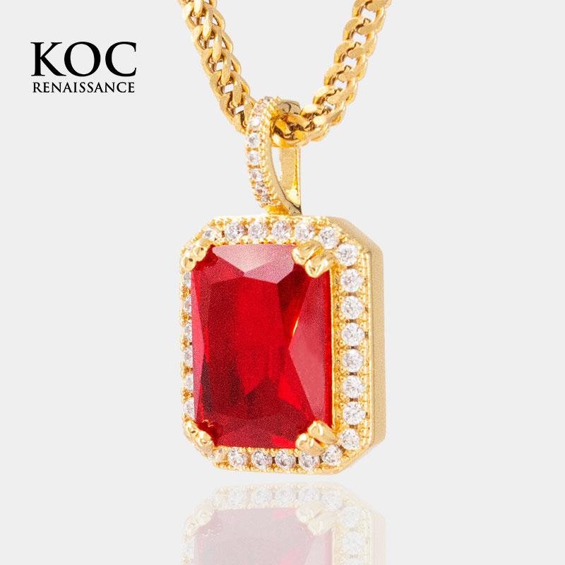Koc jewelry pigeon blood ruby pendant hip hop hiphop Necklace Street rap accessories 8 miles the same