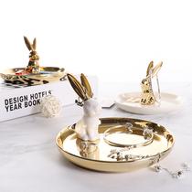 北欧风陶瓷首饰展示架托盘金色兔子收纳盘拍摄道具卧室小饰品摆件
