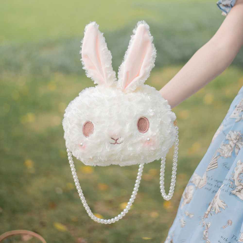 Original Lolita rabbit head lovely girl Princess Bag Plush cross arm one shoulder carry all kinds of JK Japanese women's bag