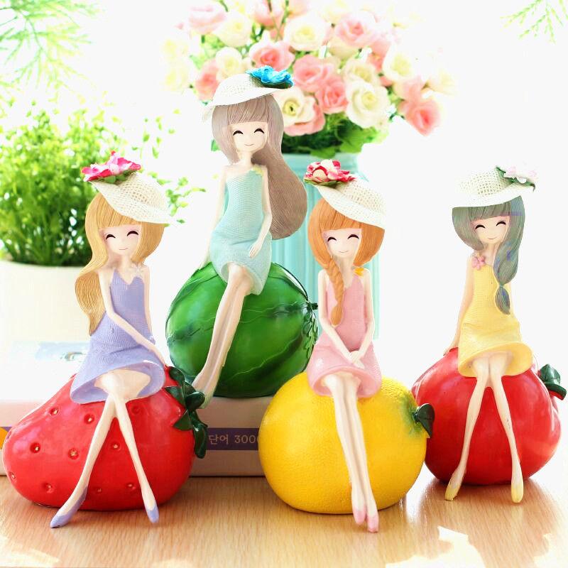 水果女孩树脂工艺品创意可爱家居装饰品礼品汽车用品摆件