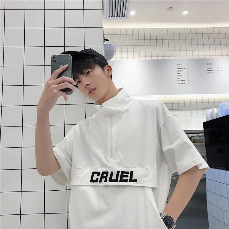 夏季上衣服男潮流韩版短袖T恤男五分袖卫衣ins港风薄款立领半袖t图片