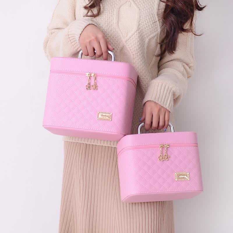 11月21日最新优惠化妆包大容量小号便携可爱方品收纳盒韩国简约旅行手提女式化妆箱