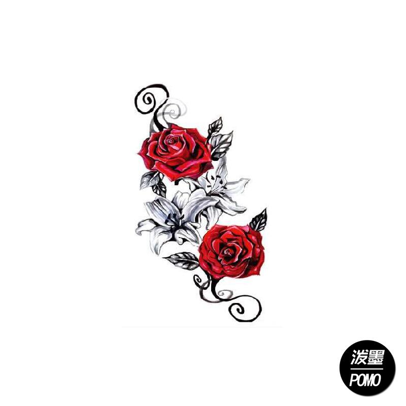 玫瑰的红 安全环保 胸贴花腿花臂防水 男女纹身贴纸 刺青贴