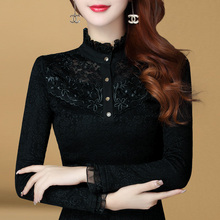 High neck bottoming women's new style in autumn 2019 slim temperament long sleeve lace top Plush T-Shirt Top trend