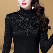 Plush bottoming women's long sleeve 2019 autumn new style black lace high neck small shirt thickened autumn winter warm top