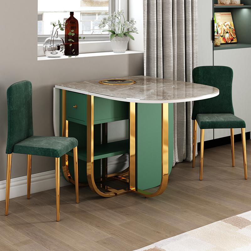 イタリア輸入岩板折りたたみテーブルセット軽い長方形の食事テーブル家庭用小さなテーブル