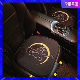 汽车创意可爱月亮美少女坐垫无靠背夏季凉垫通用座椅垫棉麻透气女图片