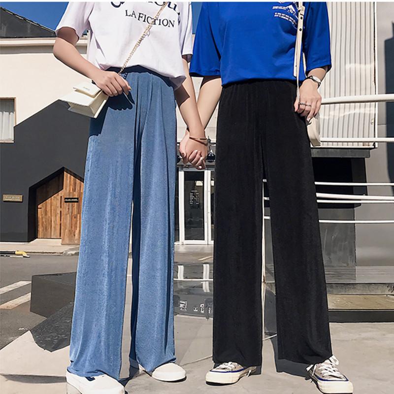 冰丝阔腿裤女2020年新款高腰垂感休闲裤子夏季薄款宽松黑色拖地裤图片