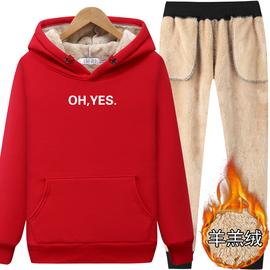 纯棉加绒加厚运动套装女羊羔绒秋冬装时尚休闲跑步卫衣韩版两件套