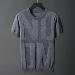 秋冬季翻领针织短袖羊毛衫男青年时尚潮流修身保暖半袖毛衣T恤潮