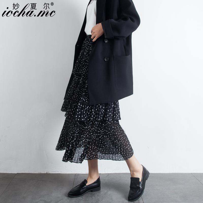小波点蛋糕裙雪纺半身裙女春夏季2020中长款高腰多层次长裙百褶裙