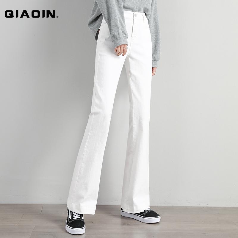 白色牛仔裤喇叭裤女微喇2020春季新款弹力大码外穿直筒显瘦长裤子