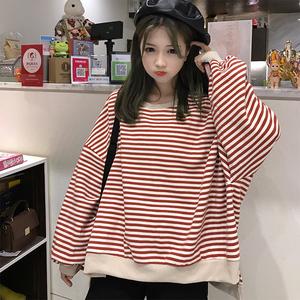 2020新款韩版条纹慵懒风薄款bf卫衣