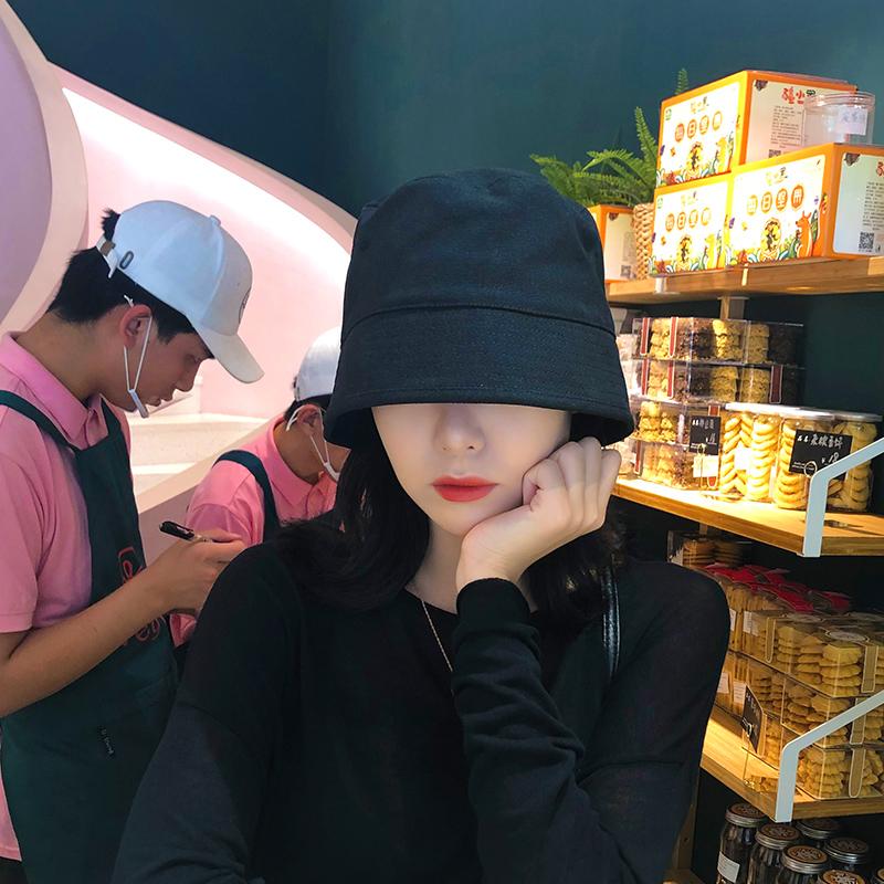 日本小众设计师款纯色复古水桶帽盆帽时尚街头男女棉麻渔夫帽子潮