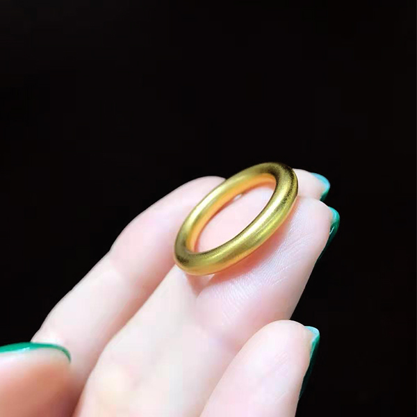 Authentic antique gold ring, pure gold for men and women lovers, gold heritage, gold, 999 simple simple circle