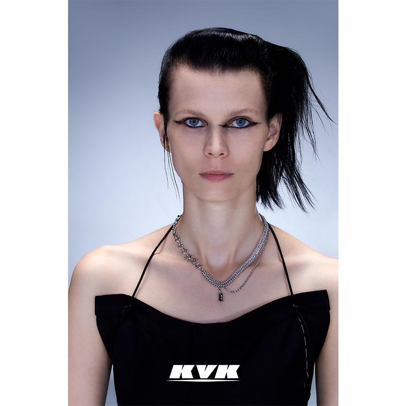 KVK新款潮轻奢锁骨链项链毒液吊坠可拆卸扭转拼接项链配饰项链女