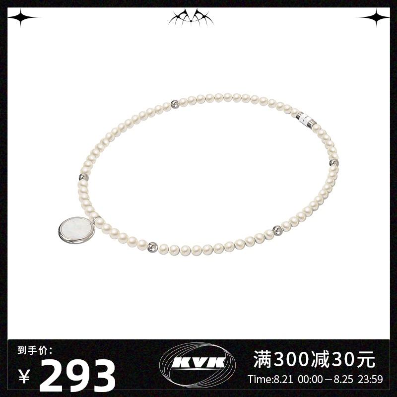 新款潮网红颈链高级感吊坠饰品2020珍珠贝母项链女小众设计感KVK