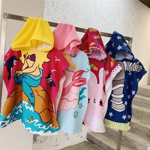 超细纤维卡通儿童浴巾连帽披风斗篷浴袍可爱可穿毛巾柔软沙滩巾