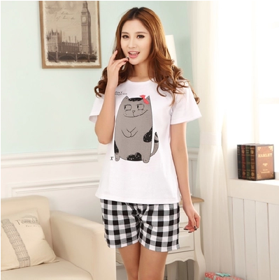 Free mail summer lovers pajamas home clothes cotton short sleeve shorts mens and womens special price super value fattening