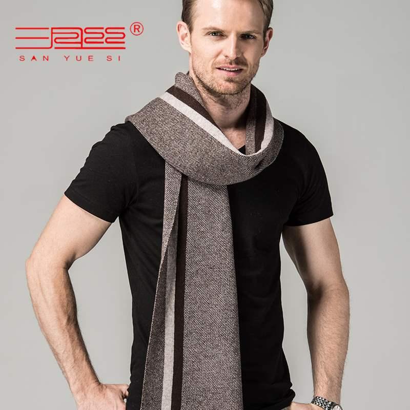 Solid color stripe mens cashmere wool scarf Korean red scarf winter mens bib